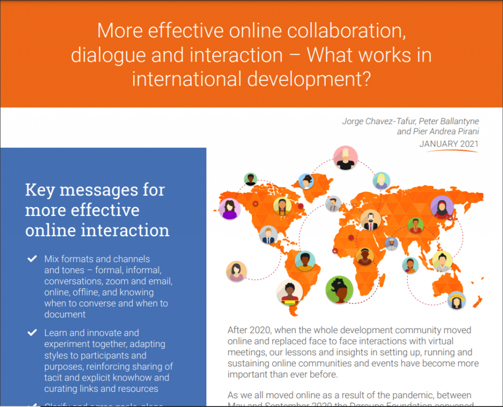 Dgroups Briefing - More effective online collaboration, dialogue and interaction in international development